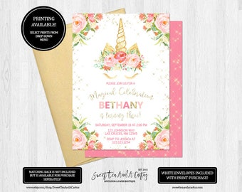 Unicorn Birthday Invitation Girls Magical Enchanted Party Pink Floral Gold Glitter Invites Printable Digital File or Printed Invitations