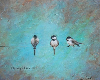 Bird on a wire Chickadee painting available on fine art paper or stretched canvas.  Original art by Nancy Quiaoit at Nancys Fine Art.