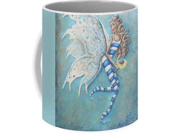 Fairy art mug,  cute  fairy coffee mug, blue fairy cup, original painting by Nancy Quiaoit