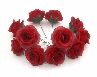 14 Pcs Silk Flower Heads,Red Silk Rose Heads,Fake Artificial Flower Roses with short Stem,DIY Wedding Bouquet Flowers,Rose Centerpieces