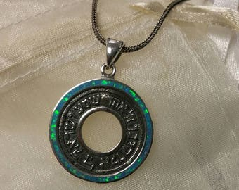 Shema Y'Israel round Silver Pendant with Opal circular frame, Shema necklace