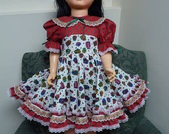 "UniKaren Doll Dress & Matching Bloomers for Patti Playpal 35"" 36"" walking doll or similar Christmas QUALITY"