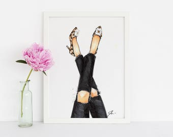 Leopard and Denim (Fashion Illustration Print)