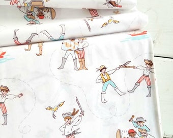 The Best of Sarah Jane - A Pirate's Life(White Background/Seafoam) - Sarah Jane - Michael Miller Fabrics