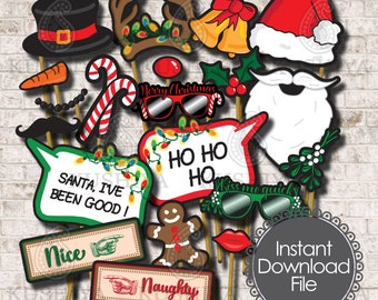 Christmas Photo Booth Props - Set of 20 - Fun Christmas Party Signs, Instant Download, Printable, Print your own, Easy to cut, DIY, PDF File