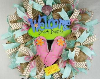 Beach Mesh Wreath, Welcome Beach Bums with Flip Flops Wreath, Welcome Summer Wreath, Flip Flops Wreath