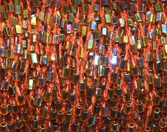 5 meters 3mm AB tube seed bead beaded orange cord