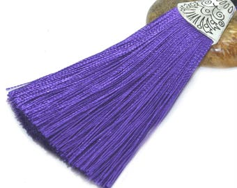Large tassel 08cm purple polyester with Silver Cup