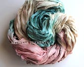 Pure Sari Silk, Muted Vanity Mix, Fair Trade, 100g, Textile, Yarn, Art Yarn, Crochet Yarn, Bracelet Ribbon, Silk, Artwear Elements, KK