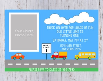 Cars & Trucks Birthday Party Invitation