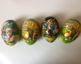 Vintage Paper Mache Easter Eggs Large Set of Four Nestler Germany