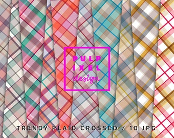 Trendy Crossed Tartan // 10 Cool Crossed Plaid Digital Papers // Commercial Use // Instant Download