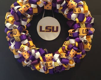 Louisiana State University Inspired ribbon wreath, LSUTigers