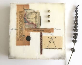 Small original encaustic collage , 6x6, ready to hang art, small art, encaustic art, ephemera, housewarming gift
