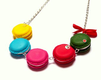 Long necklace five delicious macarons (pop colors)