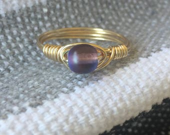 Ring size 6.75 - purple bead with gold tone wire