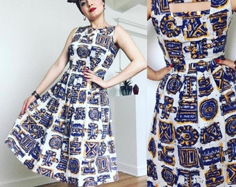 Rare Tiki 1950s Vibrant Summer Dress