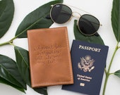 """Script Burned Quote Passport Cover in Brown Leather Travel """"I haven't been everywhere but it's on my list"""" quote, Personalized Gift, Travel"""