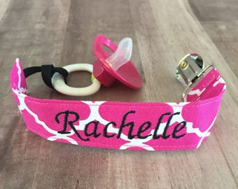 Pink Pacifier Clip--Soothie Clasp--Binky Holder--Hot Pink & White--Baby Girl--Monogrammed--Personalized--Embroidered
