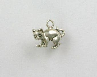 Sterling Silver 3-D Alley or Feral Cat Charm