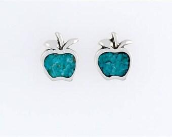 Sterling Silver Turquoise Apple Post or Stud Earrings