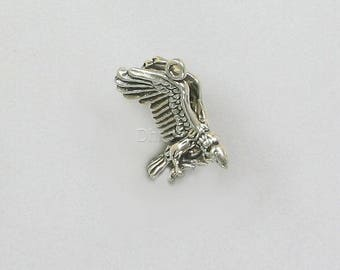 925 Sterling Silver Vulture Charm, Animals & Birds Theme Jewelry - b29