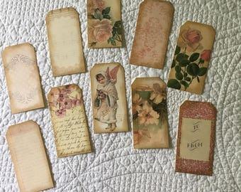 Journal Tags -- Vintage Ephemera - Set of 10