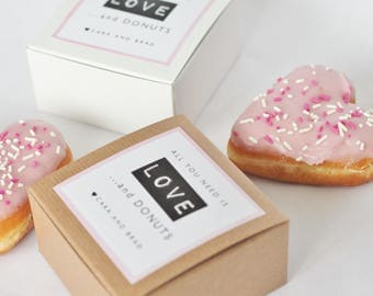 Dozen Donut Favor Boxes - Single kraft Donut Box - Wedding Favor custom labels - All you need is love and donuts -funny favor  bridal shower