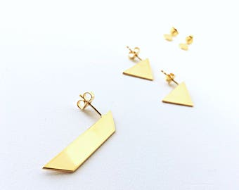 II TRAPEZOID GOLD single stud - trapezoid goldplated earring