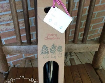"Christmas Single Bottle Wine/Liquor Carrier • Wine Box • Hostess Gift Set • Box Gift  • 15"" x 3-1/2 x 3-1/2"" • Stamped Box + Ribbon • Tag"