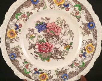 """3 Vintage Royal Cauldon Bentick 11"""" Dinner Plate #2279 England 1940's Vibrant Multifloral Colors Scallopped Embossed 3 AVAILABLE MUST SEE!"""