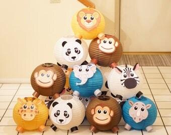 Set of 12 Party Decoration Animal Lanterns Jungle Theme, Panda Lion Monkey Giraffe Zebra Elephant Rhino