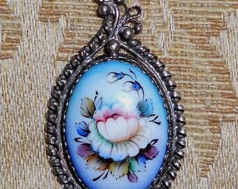 Oval Floral Pendant  Russian Enamel Jewelry