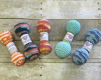 Baby rattles, crochet rattles, 100% cotton rattles, cotton baby toy, natural baby toy, crochet baby toy