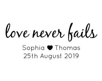 Love Never Fails Personalised Wedding Stamp, Wedding Favours Stamp, Save The Date, 1 Corinthians 13:8, Love Stamp, Wedding Quote, (cts213)