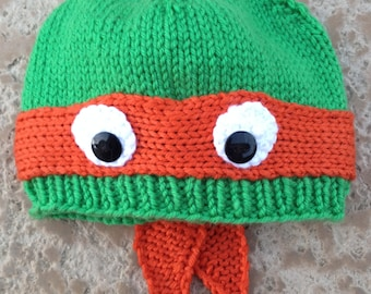 Adult XL Michelangelo: Hand-knit teenage Raphael mutant ninja turtle hat with ribbed bottom edge.  COWABUNGA!