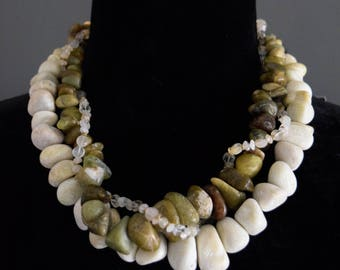 Afghan jade (serpentine) & citrine multi-strand necklace