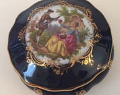 Vintage Limoges Trinket Box, Cobalt Blue, Gold, Courting Scene, Wedding Ring Box