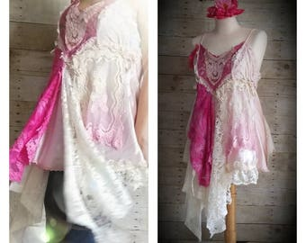 Pink Sunshine Shabby romantic chic floral rustic Boho altered lace cami artsy dressy top tunic artsy lagenlook M