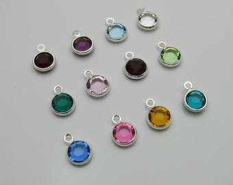 Birthstone Jewelry, Birthstone Charm for Bracelet, Birthstone Charm for Necklace, Swarovski Crystal Birthstone Channel Charm