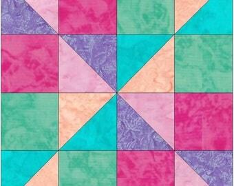 Scrappy Fun 10 Inch Paper Piece Foundation Quilting Block Pattern PDF