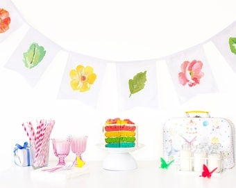 fabric garland backdrop, floral party banner, kids bedroom decor, nature lover gift, garden party decorations, unique wall decor, cot decor