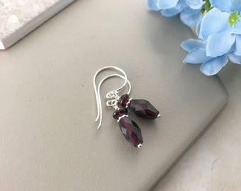 Red Garnet Earrings, Faceted Garnet Earrings, Sterling Silver Drop Earrings, January Birthstone Gift, Garnet Jewellery