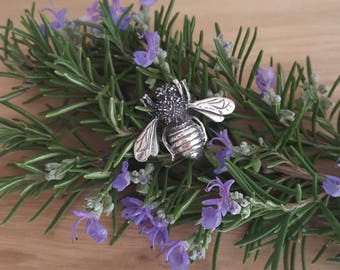 Vintage Good Luck Bumble Bumble Bee Pin Brooch in Sterling .925 Silver -EB776