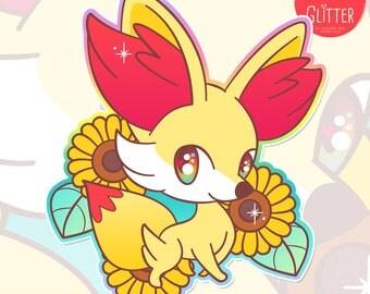 Fennekin and Sunflower Pokemon Style Holographic Sticker