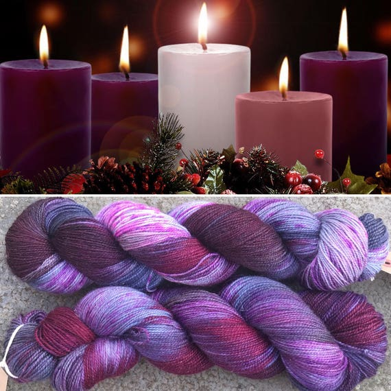 Advent Sparkle Sock, purple merino nylon yarn with silver stellina