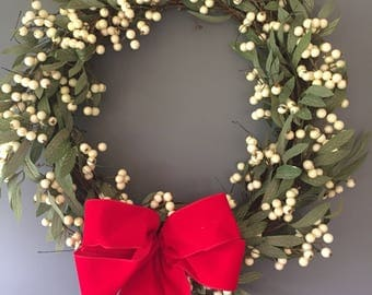 White Berry wreath - vine wreath - Christmas wreath - xmas wreath - rustic wreath - natural wreath - white berry wreath