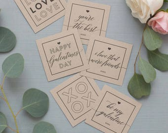 Printable Galentine's Day Multi-Purpose Cards (Black) - INSTANT DOWNLOAD - Gift Tags, Note Cards, Place Setting Cards, Decor