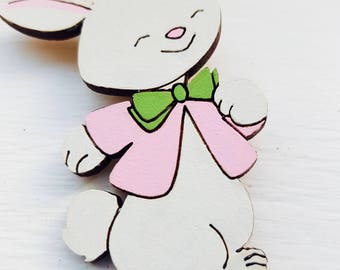 Vintage retro inspired jewellery for the modern pin by squeakyfrog easter bunny brooch rabbit brooch white rabbit brooch novelty brooch easter gift negle Images