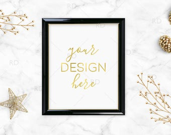 "Gold Objects with Black and Gold Frame Mockup on Marble Desk / Styled Stock Photography / 8""x10"" Frame PSD smart object and PNG / Styled"